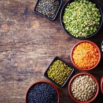 selection of raw lentils and legumes