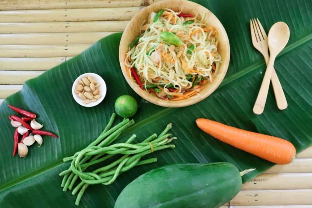 green papaya salad prepared and ready to eat