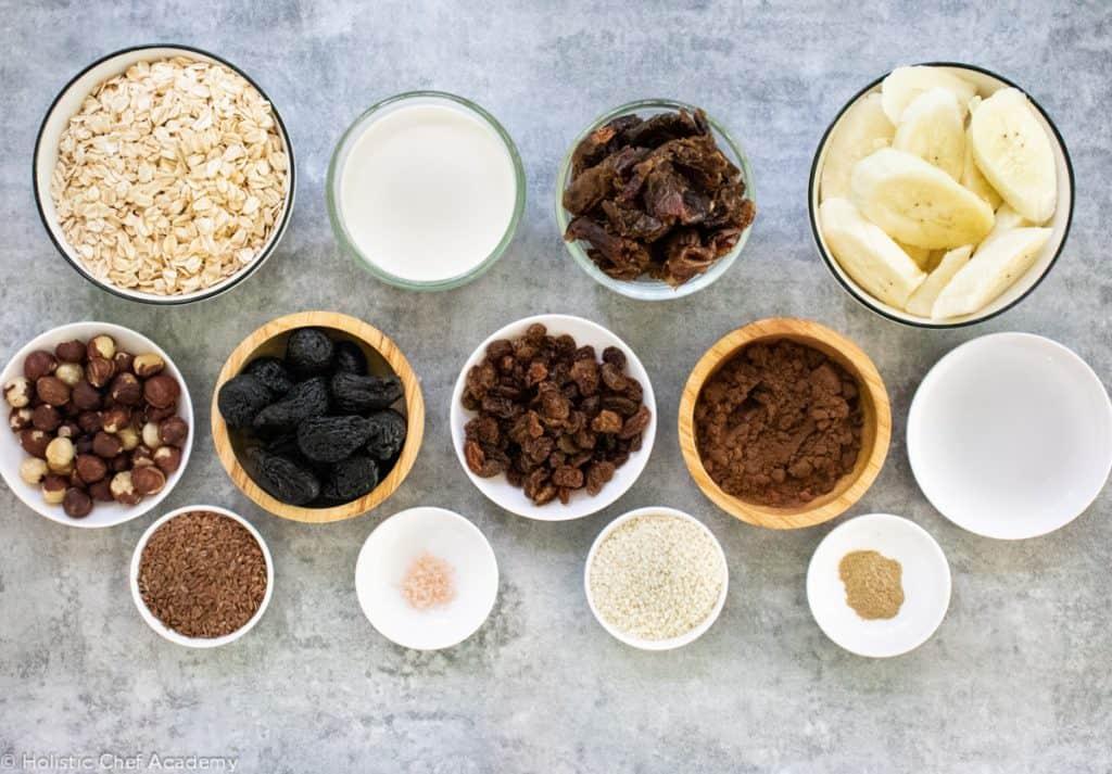 Cacao, hazelnut and fig flapjack ingredients