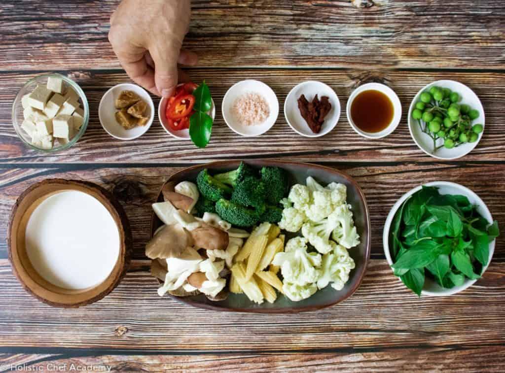 Vegan Thai red curry ingredients