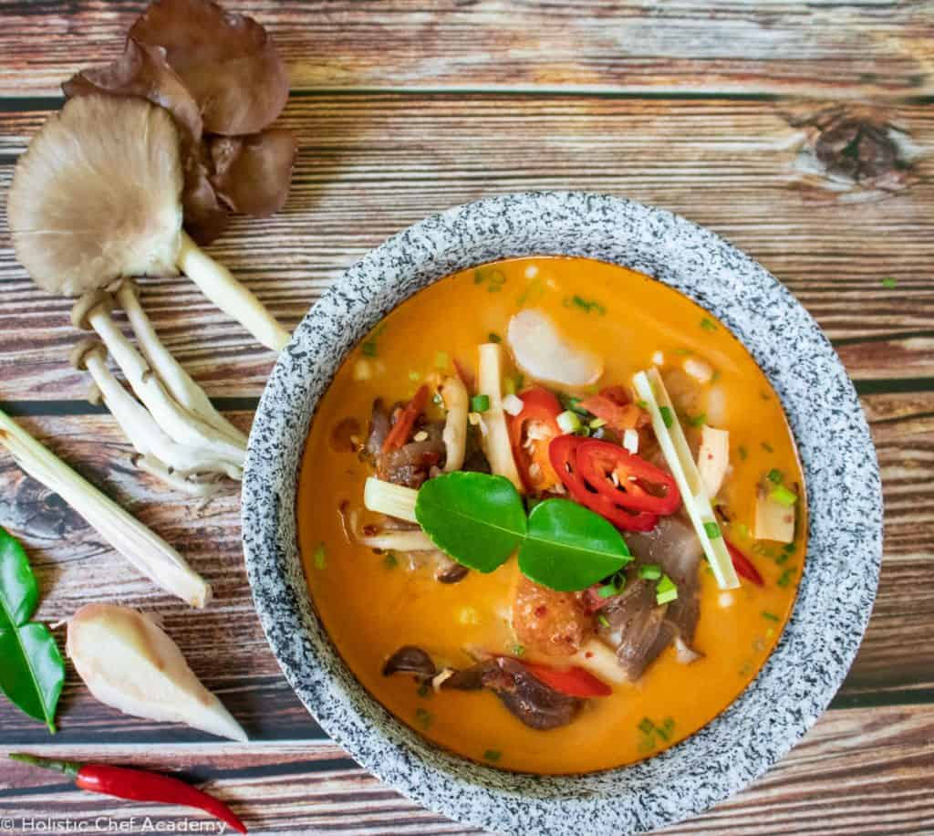 Tom yum soup with mushrooms