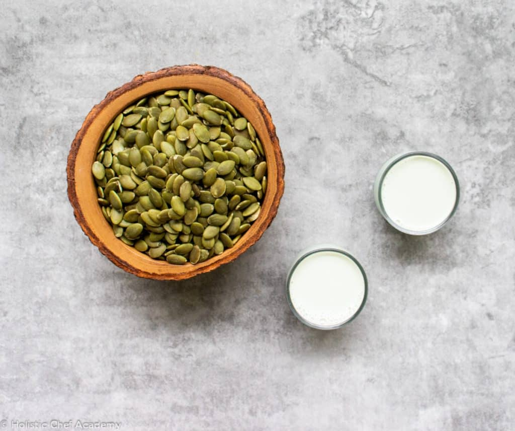 pumpkin seeds with pumpkin seed milk