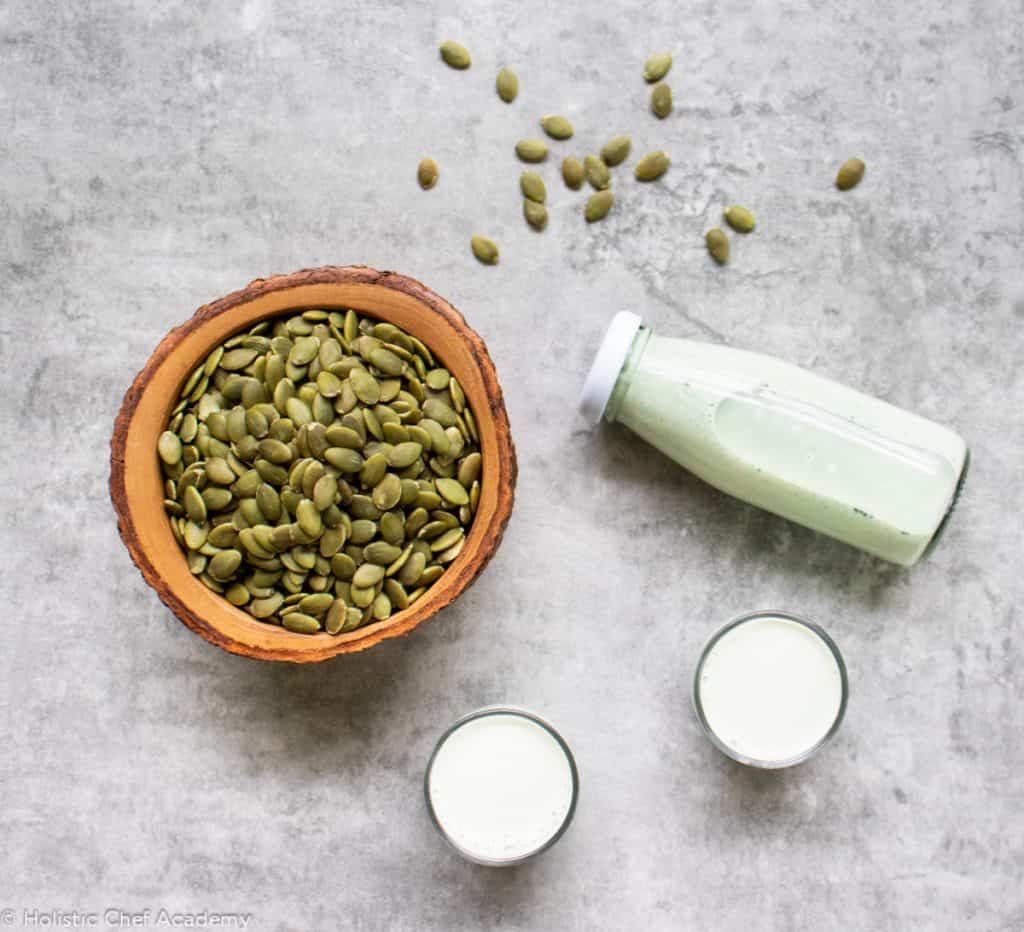 pumpkin seed milk in a bottle