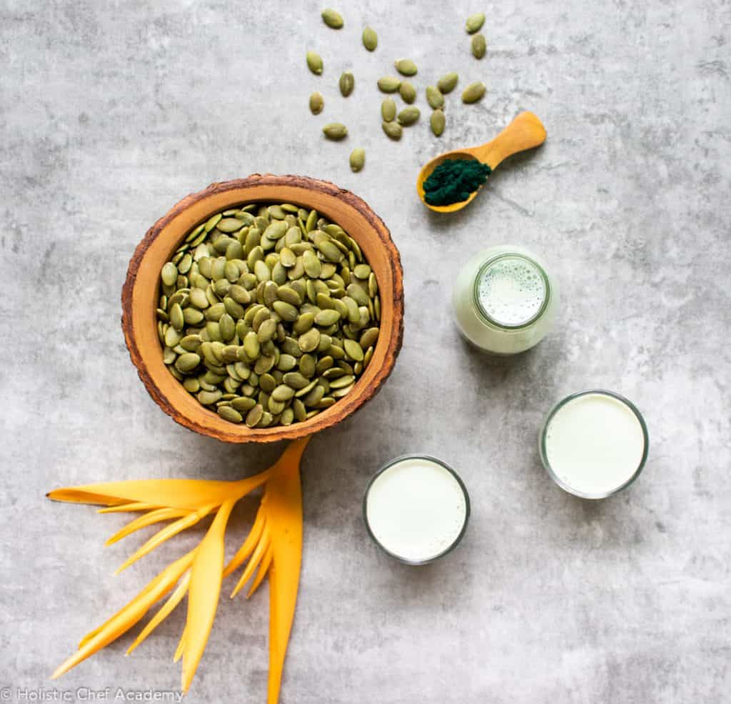 pumpkin seed milk and ingredients