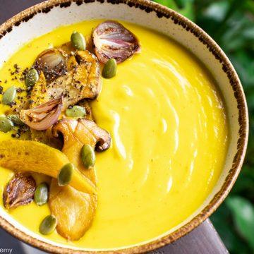 pumpkin soup with wild mushrooms and pumpkin seeds