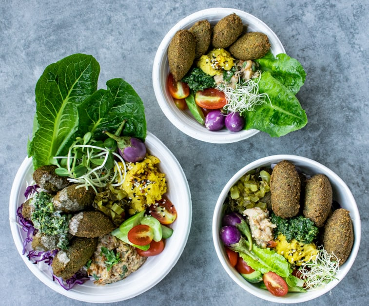 3 different falafel boxes from the Jungle Kitchen Pop Up Event