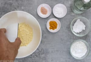 All ingredients laid out for making chickpea socca flatbread