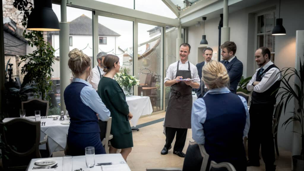 Culinary team briefing with Jamie