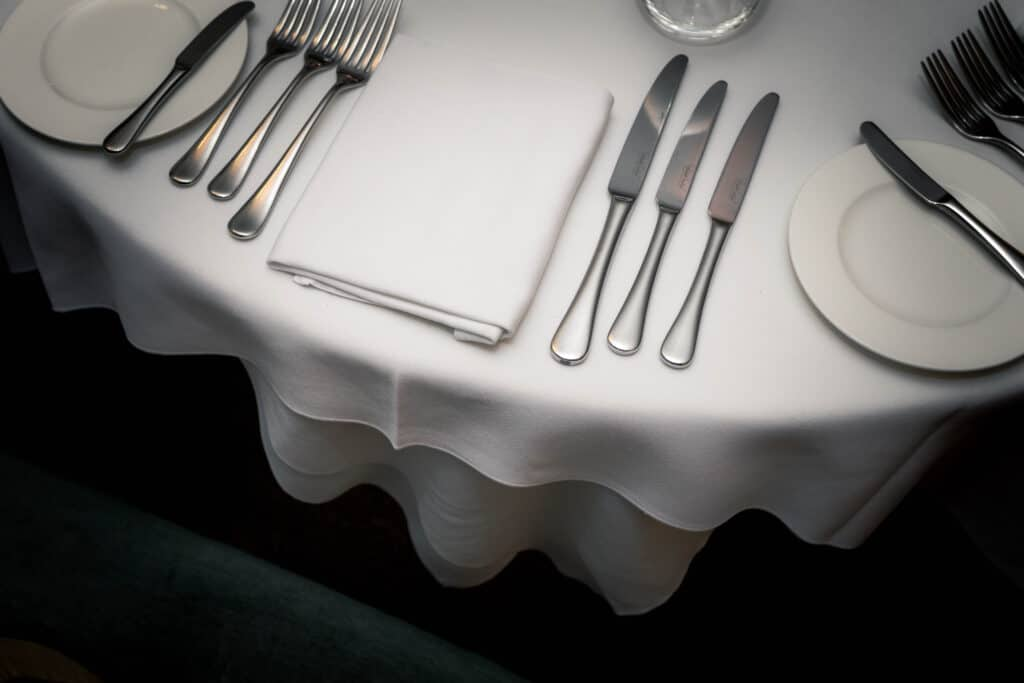 Table laid ready to serve a fine dining meal