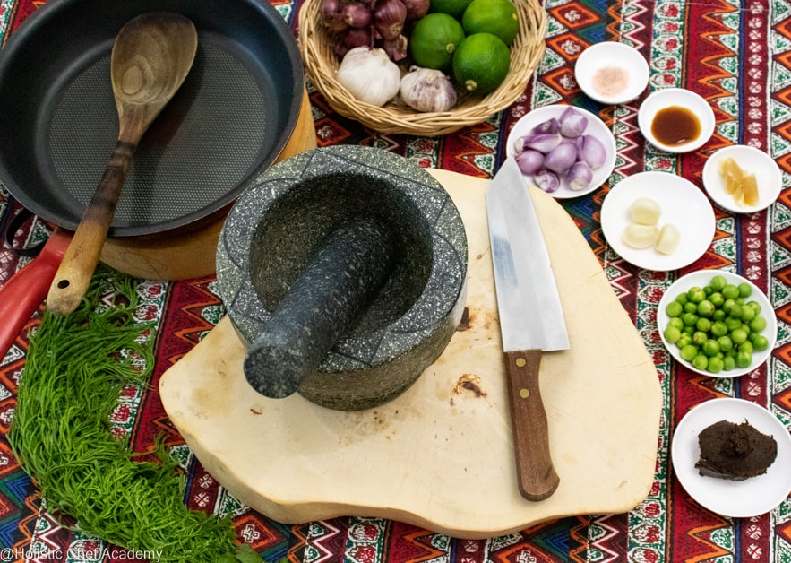 ingredients laid out ready to make eggplant dip to serve with vegan Thai omelet