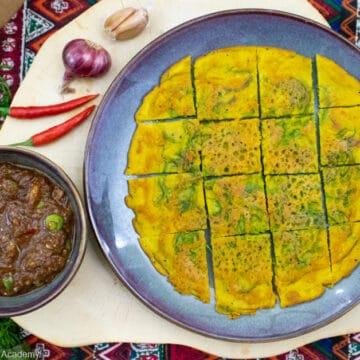 vegan nam prik kapi served beside the thai vegan omelet