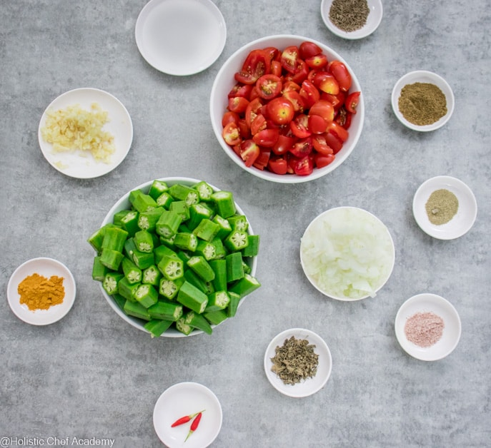 ingredients laid out ready to cook bhindi masala