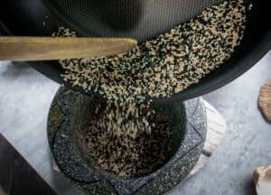 transfer sesame seeds to mortar and pestle
