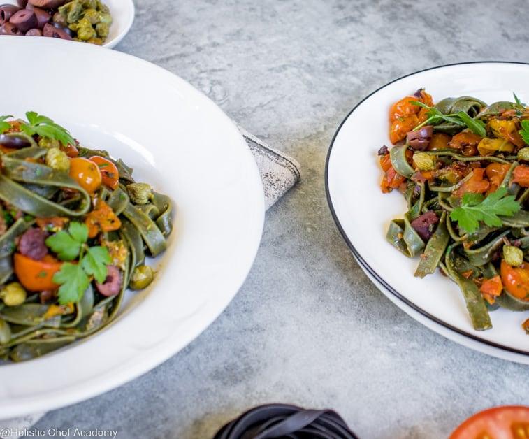 2 bowls of pasta puttanesco