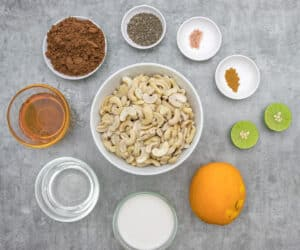 ingredients laid out for making the raw cheesecake filling