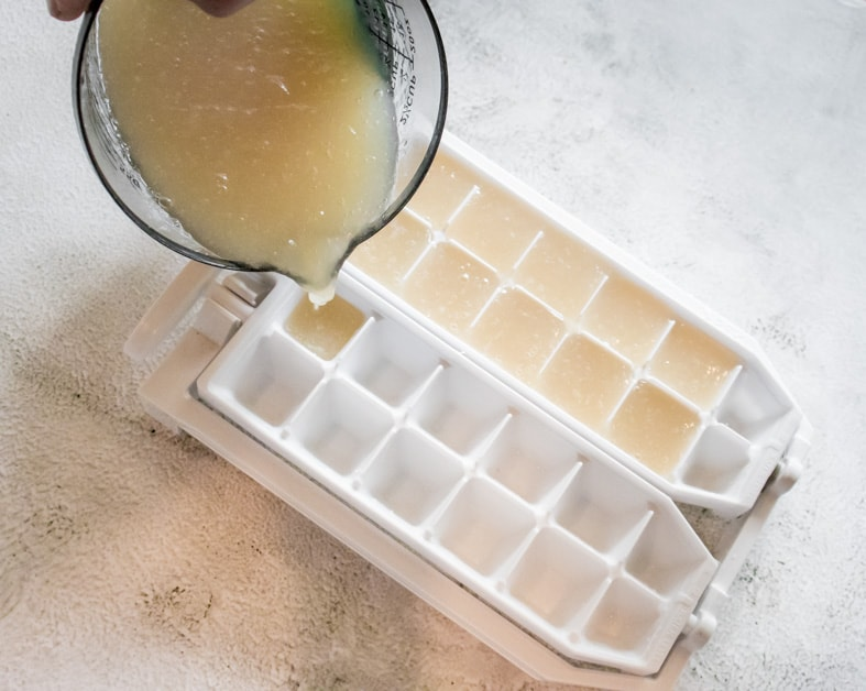 freezing chickpea cooking liquid in ice cube trays for blending the smoothest chickpea hummus