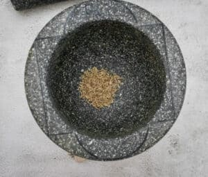 Grind the toasted cumin seeds in a spice grinder, blender or mortar and pestle.