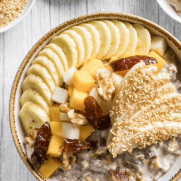 sesame-milk-Bircher-served-with-fresh-tropical-fruits-on-top