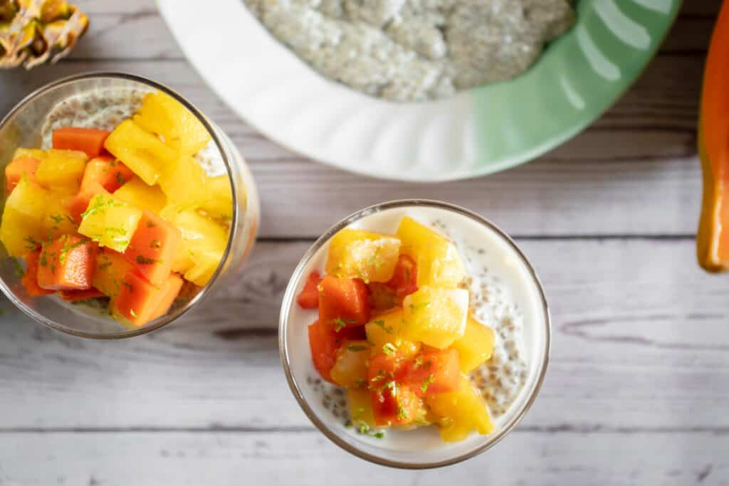coconut-chia-puddings-topped-with-tropical-fruits